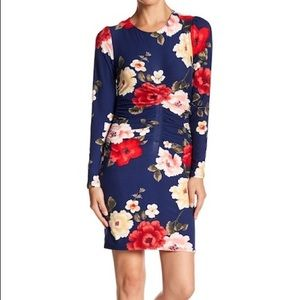 PLANET GOLD Floral Scoop Neck Bodycon Dress Large